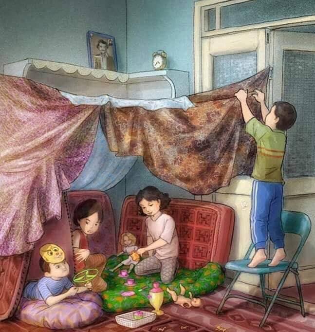 Cần một lâu đài? Một vương quốc? Một không gian để chơi trò gia đình? Cứ mùng mền chiếu gối mà triển. Đơn sơ mà nhiều kỷ niệm và đầy ắp niềm vui.