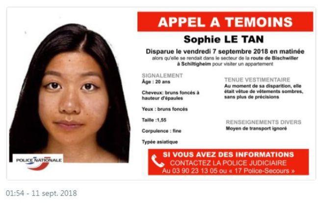 Thông tin của Sophie được phát đi mong tìm được tung tích cô gái trẻ. Ảnh: Internet.