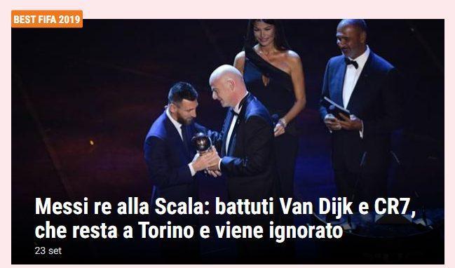 Messi được vinh danh tại Italia trong khi Ronaldo ngồi nhà.