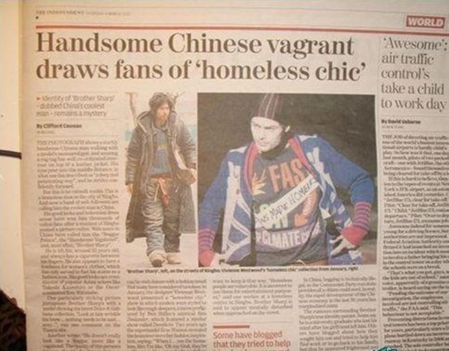 """Báo chí đưa tin về hiện tượng """"anh chàng ăn mày đẹp trai nhất Trung Quốc."""""""