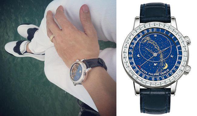 Patek Philippe Patek Philippe Geneve Sky Chart 6103G phiên bản bạch kim nạm kim cương có giá khoảng 10 tỷ đồng.