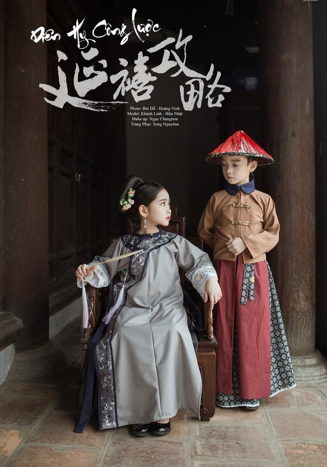 """Tối qua, mạng xã hội bắt đầu rần rần với hình ảnh của hai mẫu nhí Hà thành đang rất nổi tiếng gần đây là Cao Hữu Nhật và Khánh Linh khi 2 bé hóa thân thành nhân vật chính trong bộ phim cũng đang cực hot """"Diên hy công lược""""."""
