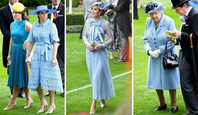 Bất ngờ hơn nữa, ngay cả Công chúa Anh Beatrice và Nữ hoàng Anh Elizabeth đều chọn tông màu xanh biển đằm thắm này giống Công nương Kate tại ngày khai mạc