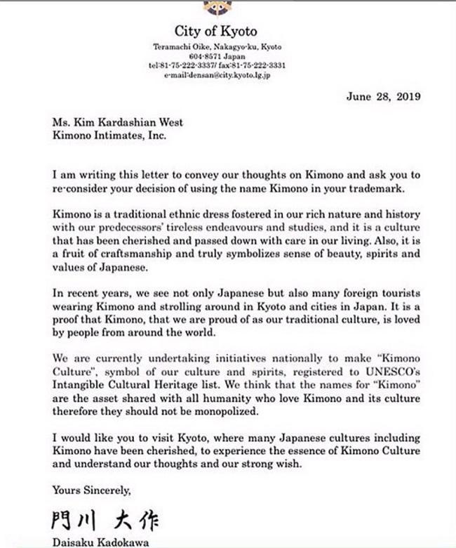 Bức thư của ngài thị trưởng Nhật Bản gửi đến Kim trong việc gỡ bỏ cái tên Kimono ra khỏi dòng sản phẩm của cô