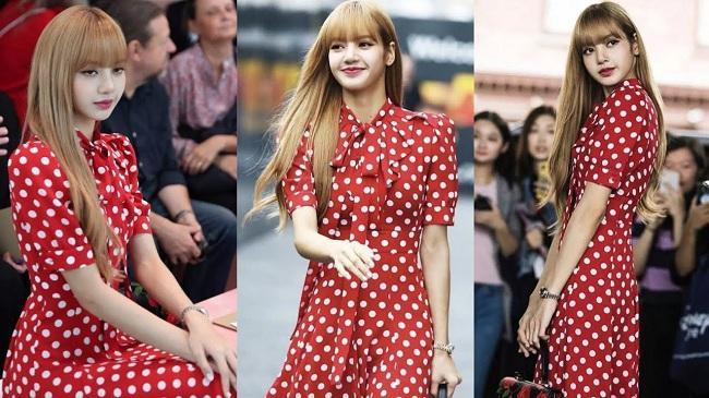 Đôi khi lại nữ tính dịu dàng trong thiết kế váy chấm bi đỏ sặc sỡ khi tham dự một show thời trang ở New York ( Mỹ)