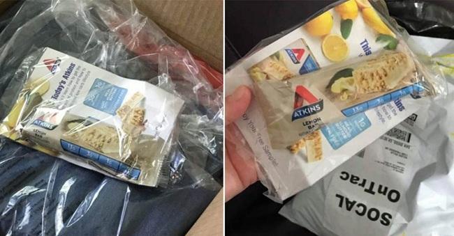 Thanh thực phẩm ăn kiêng được tặng kèm trong gói đồ của các khách hàng order quần áo ngoại cỡ
