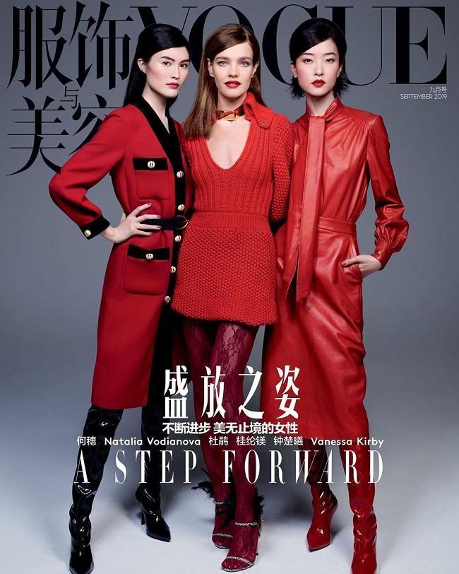 Ba nàng mẫu hàng đầu Sui He – Natalia Vodianova và Du Juan tụ hội trên bìa tạp chí Vouge China trong ấn phẩm mới nhất.