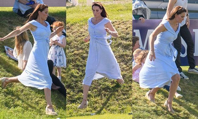 Kate Middleton nhiều lần diện kiểu giày đế xuồng trong các buổi đi dã ngoại với các Công chúa và Hoàng tử