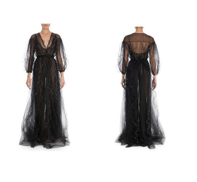 Chiếc váy vải tuyn có thiết kế xuyên thấu có giá đắt đỏ gần 300 triệu đồng đượcnữ Công tước xứ Sussex lựa chọn.