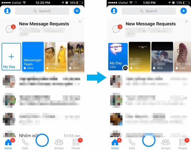 """Mở Messenger, nhấp vào biểu tượng dấu """"+"""" ở ô My Day (góc trên bên trái màn hình)hoặc dấu tròn giữa màn hình, chỉ với vài thao tác chụp - chỉnh ảnh đơn giản bạn đã có thể cập nhật nóng trạng thái của mình bằng hình ảnh trên Facebook Messenger."""
