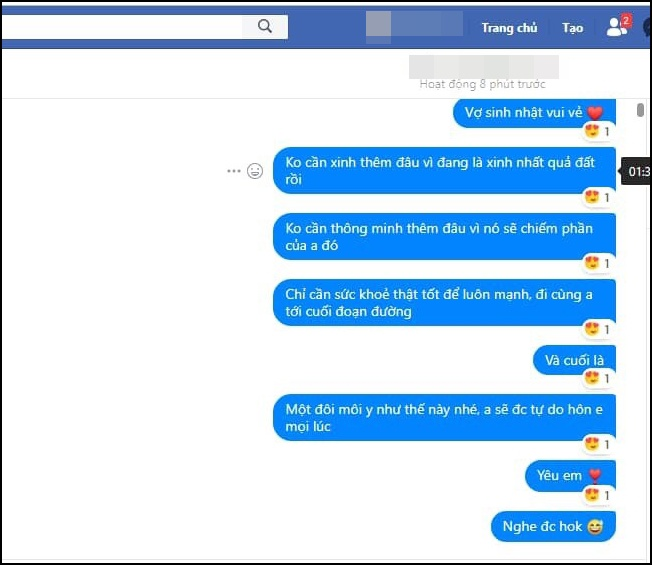 1 trong những tin nhắn yêu đương của D. và T.Ảnh: FBNV