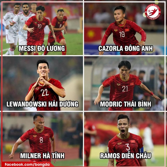 Dreamteam (đội hình trong mơ - PV) của tuyển Việt Nam đối đầu với Thái Lan. (Ảnh: fanpage Bóng đá)