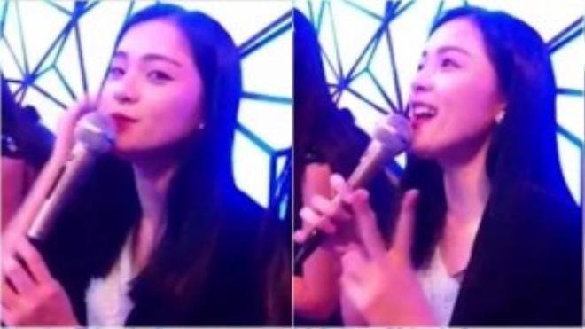 Hình ảnh Hạ Vi hát karaoke cắt từ clip.