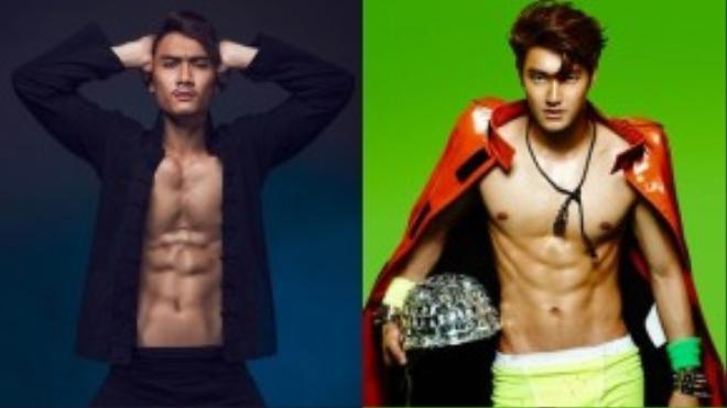 Nếu so sánh trong bức hình này, Lương Gia Huy nam tính và cơ thể săn chắc hơn cả chàng ca sỹ Siwon.