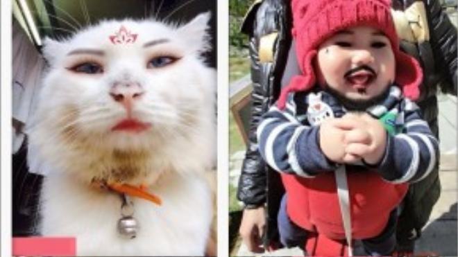 """Hình trẻ em, thú cưng cũng được """"trưng dụng"""" cho trào lưu chỉnh ảnh."""