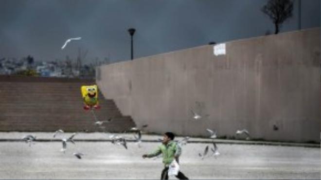 Một cậu bé thả bóng bay ở sân vận động Olympic Tae Kwon Do, thuộc Faliro, Hy Lạp. Đây cũng chính là ngôi nhà chung cho hàng trăm người tị nạn đang lưu lạc tại Hy Lạp.