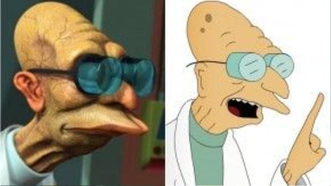 """""""Trẻ không tha, già không thương"""", ngay cả cụ giáo sư Farnsworth cũng series Futurama cũng không khỏi bị """"rước"""" ra đời thật. Chính ra, thứ dị hợm nhất trên khuôn mặt cụ chính là cặp kính lồi vĩ đại mới phải."""