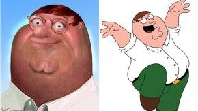 """Ông bố vui tính với thân hình mập mạp và chiếc cằm đôi đặc trưng – Peter Griffin của series hoạt hình nổi tiếng Family Guy – trông sẽ thật """"biến thái"""" nếu ông ta xuất hiện ngoài đời thật."""