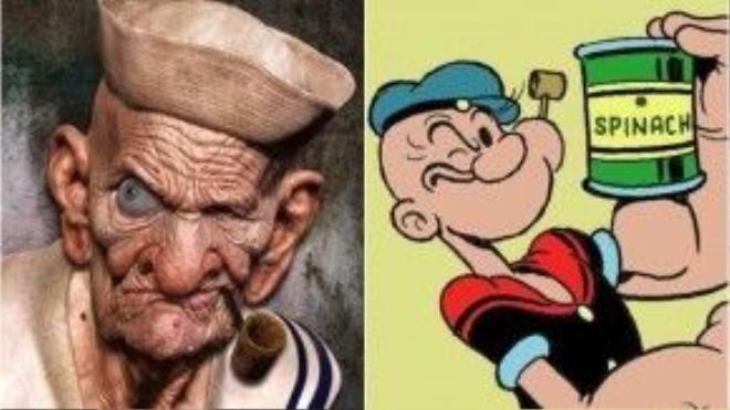 Bức hình công phu tái hiện hình ảnh chàng thủy thủ Popeye khi… về già, còn trong truyện và phim thì anh vẫn rất trẻ trung, vui tươi.