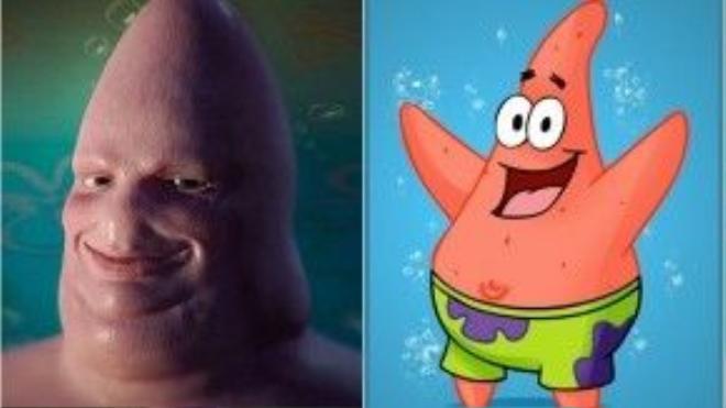 """Trường hợp bị """"dìm hàng"""" thê thảm nhất chắc chắn là chú sao biển Patrick trong series SpongeBob SquarePants. Vẻ ngoài mũm mĩm, dễ thương đã nhường chỗ cho cái đầu nhọn và nụ cười… quái dị."""