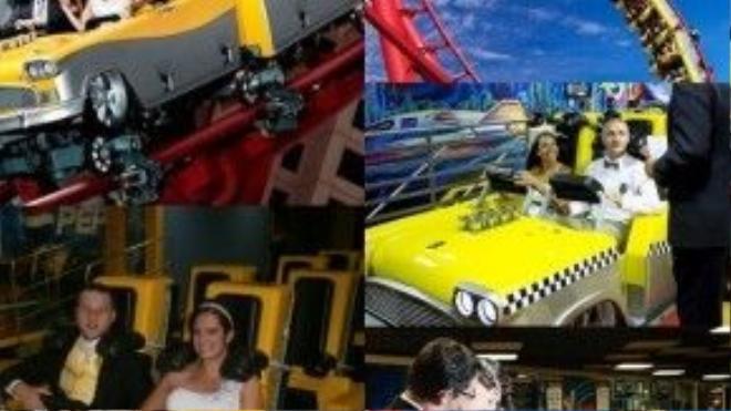 """Nếu hôn nhân vẫn chưa đủ khiến bạn hồi hộp thì kết hôn trên một tàu lượn siêu tốc tại khách sạn sòng bạc New York ở Las Vegas là một ý tưởng không tồi. Cặp đôi và các khách mời sẽ """"thót tim"""" khi được bay lượn vòng vèo ở độ cao 62 m. Sau đó, cô dâu và chú rể sẽ nói """"Tôi đồng ý"""" ngay bên trong khoang tàu lượn được thiết kế theo nguyên bản xe taxi vàng sọc ca-rô đen trắng thường thấy ở New York. Ảnh: bridalville"""