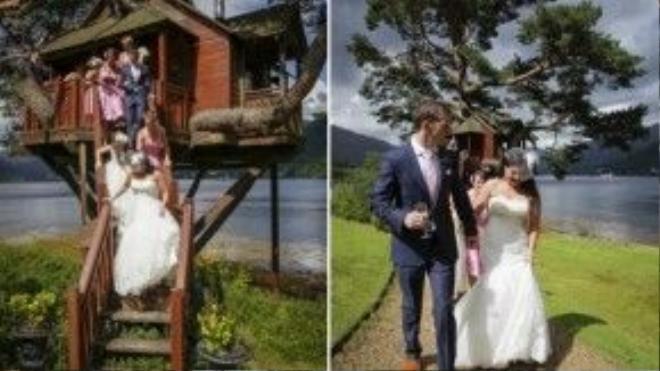 Một ngôi nhà trên cây thật lớn tại The Lodge ở hồ Loch Goil thuộc Argyll (Scotland) - địa điểm tổ chức lễ cưới khác thường này khiến giấc mơ của mọi đứa trẻ trở thành sự thật. Nó có đủ chỗ cho 24 khách mời và tầm nhìn bao quát hồ nước trong xanh và núi cao xung quanh. Ảnh: Trevor Wilson