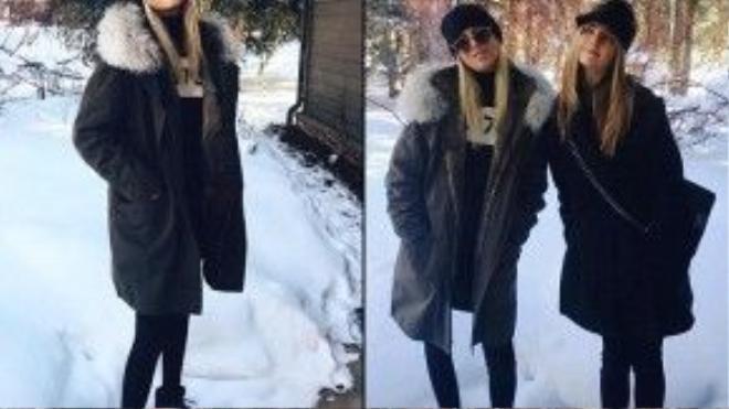 Olympia (trái) khoe phong cách thời trang trongkỳ nghỉ đông của mình.