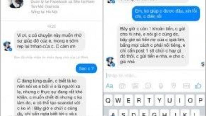 Nội dung tin nhắn được cho là của Minh Châu gửi cho Thúy Vi.