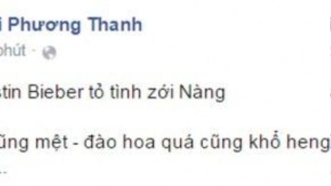 Đoạn trạng thái gần nhất của Phương Thanh ở trang cá nhân.