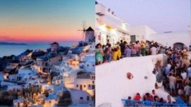 Santorini, Hy Lạp: Nếu luôn trông đợi đến một bầu không khí mát lành thư thái bên thị trấn ven biển kiều diễm này, du khách cần suy xét thật kỹ.