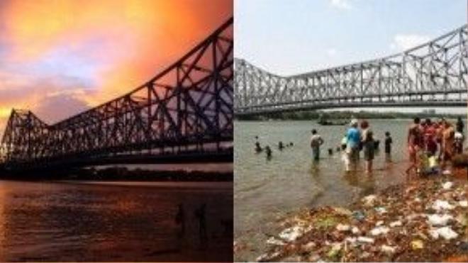 Cầu Howrah, Kolkata, Ấn Độ: Từng xuất hiện trong nhiều tác phẩm điện ảnh kinh điển của những năm 50, cây cầu Howrah ngoài đời thực có lẽ đã khiến nhiều người vỡ mộng.