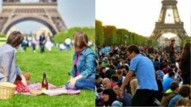 Tháp Eiffel, Pháp: Thảnh thơi nằm dài ra bãi cỏ và tận hưởng chuyến picnic gần tháp Eiffel luôn là điều nhiều du khách ao ước. Nhưng thực sự, du khách có được tận hưởng những phút giây thơ mộng ấy khi có quá nhiều người không?