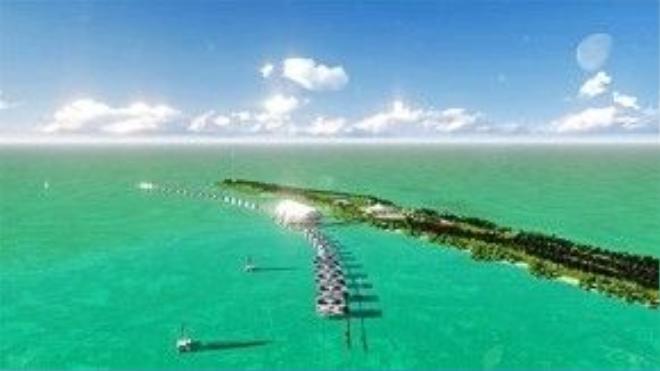 Toàn cảnh hòn đảo riêng trị giá 1,75 triệu USD của Leo nhìn từ trên cao.