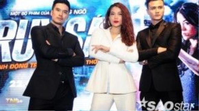 Trương Ngọc Ánh tạo dáng cùng hai trai đẹp Thiên Nguyễn và Vĩnh Thụy.