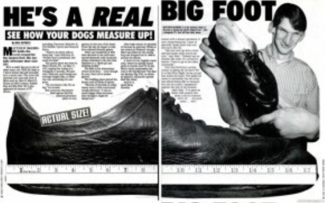 McGrory được báo chí và mọi người xung quanh chú ý vì vẻ cao to bất thường, và vì cả bàn chân quá cỡ.