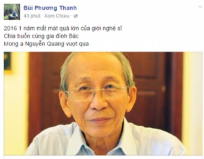 Ca sĩ Phương Thanh gửi lời chia buồn sâu sắc đến gia đình Nguyễn Ánh 9, đặc biệt con trai trưởng của ông - nhạc sĩ Nguyễn Quang.