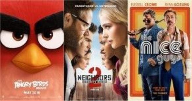 The Angry Birds Movie, Neighbors 2: Sorority Rising và The Nice Guys đều là những cái tên đáng gờm tại phòng vé Bắc Mỹ cuối tuần này. Ảnh: Outnow