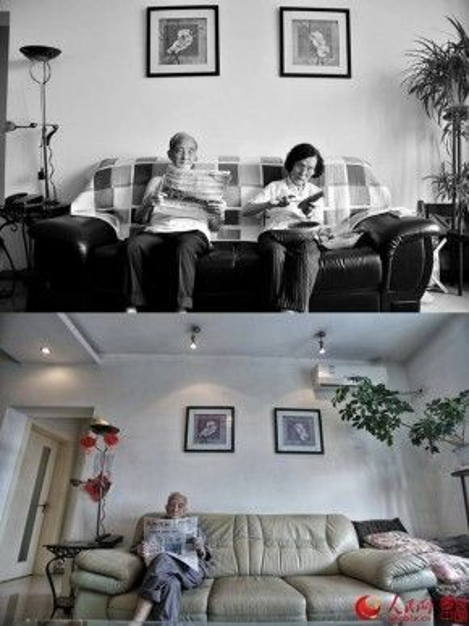 Khi xưa đọc báo cũng có người bên cạnh, còn nay chỉ có mỗi cụ ông với chiếc ghế sofa rộng đến… tê người.