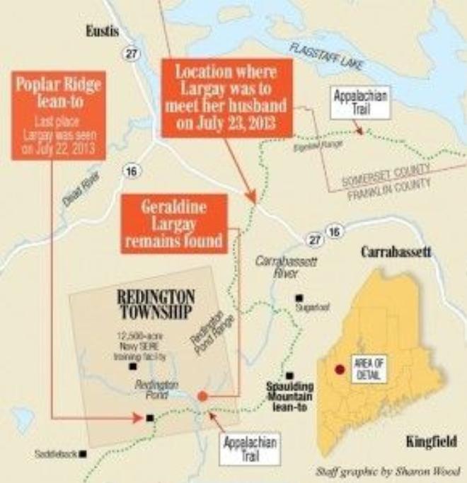 Bản đồ mô tả lại các vị trí mất tích và vị trí tìm thấy xáccủa bà Largay