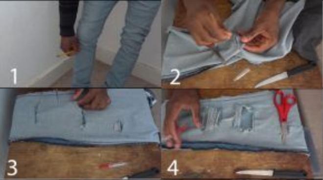 Bước 1: Dùng bút chì kẻ các đường ở quần mà bạn muốn rạch Bước 2: Lấy dao rạch nhẹ các đường đó Bước 3: Rạch các đường lớn Bước 4: Dùng dao rạch các phần chỉ để tạo thành các đường chỉ mỏng che phần lỗ đó.