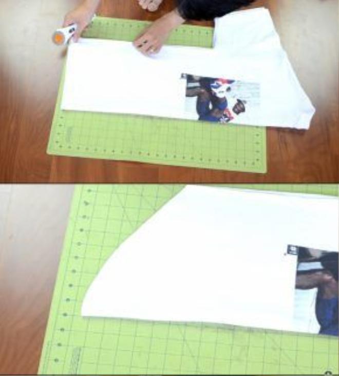 Kiểu 1: Cắt một đường cong cơ bản từ phần eo xuống đuôi áo.