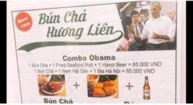 Một góc menu mới của quán bún chả Hương Liên. Ảnh: Facebook.