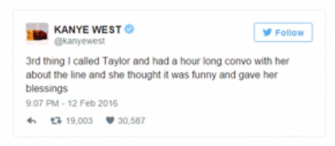 Dòng tweet của Kanye biện minh cho chính mình.