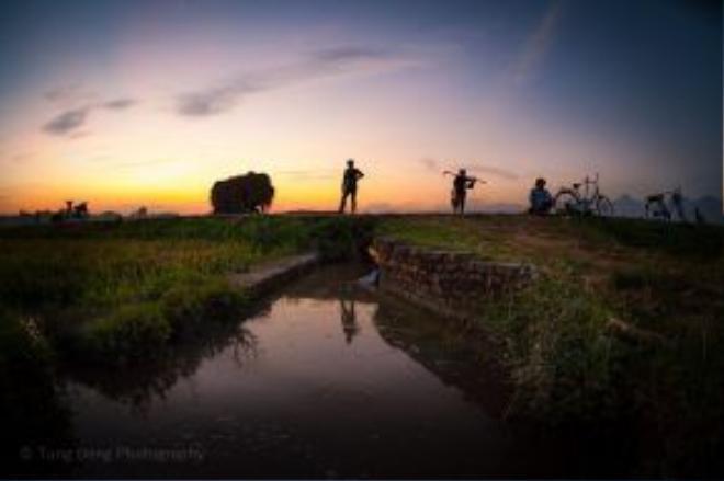 Mặt trời dần khuất sau rặng tre, người nông dân thu dọn nông cụ, nghỉ ngơi bên bờ ruộng, hưởng những làn gió mát lạnh xua đi bao nỗi vất vả lo âu. Một vụ mùa nữa lại qua.