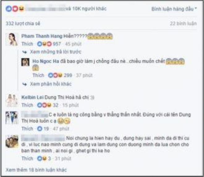 """Chỉ trong vòng chưa đầy 1 giờ, chia sẻ của Hồ Ngọc Hà đã nhận được hơn 10.000 lượt yêu thích và chia sẻ. Theo đó, Thanh Hằng, Kelbin và hàng loạt fan hâm mộ cũng đồng tình với cách """"dung hòa"""" của vị HLV này."""