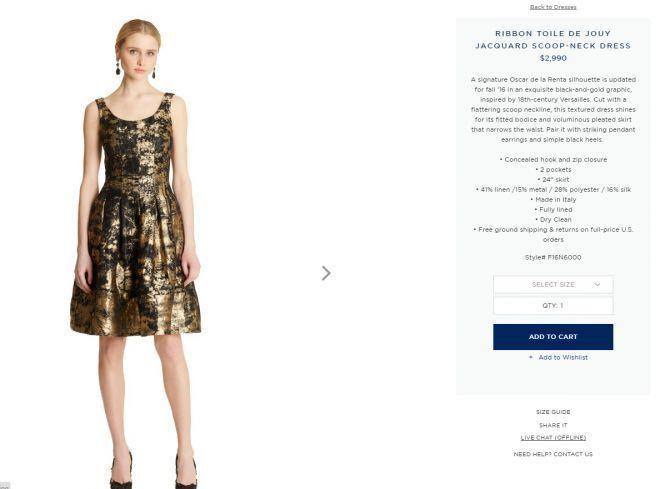 Chiếc váy có giá bán đăng tải trên web chính thức của một thương hiệu thời trang quốc tế nổi tiếng đến từ New York là gần 3.000 USD (khoảng 70 triệu).