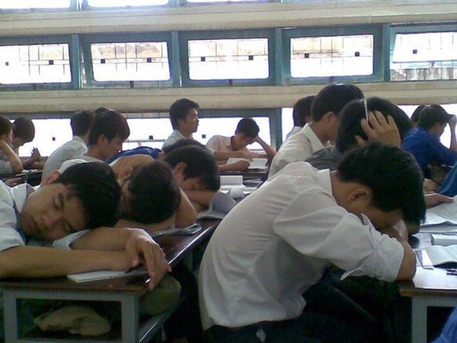 Sinh viên ngủ gật trong giờ học: Ảnh Sóng trẻ tv.