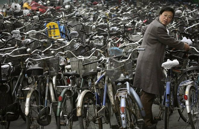 """""""Biển"""" xe đạp ở thủ đô Bắc Kinh. Ảnh: Daily Mail."""