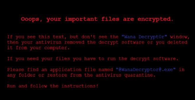 Thông báo hiện lên màn hình máy tính bị nhiễm mã độc WannaCry.