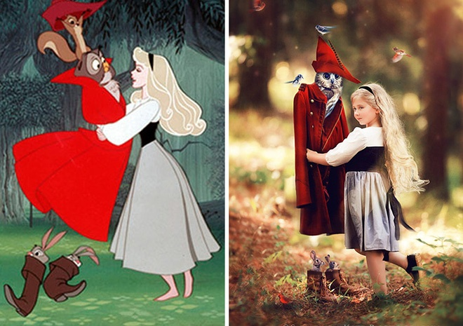 Cô công chúa ngủ trong rừng Aurora cùng những người bạn động vật.
